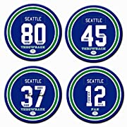 【Original Design】This Set Includes 4 Round Ceramic Coasters, Set Contain 4 Different Numbers Styles. Exclusive Copyrighted Intellectual Property Of AARONIE Brand. 【Sports Fans】Have A Good Day With Your Favorite Team. 32 Cities Available. 【Non-Slip Ba...