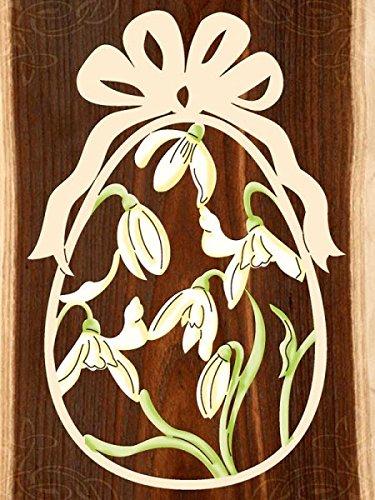 Fensterbild Ostern Schneeglöckchen - Ei - beidseitig coloriert - Holz ca. 23cm