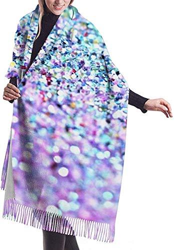 Luxe Turkoois Zeemeermin Sprankelende Glitter Schalen Zachte kasjmier Sjaal Wrap Sjaals Lange Sjaals Voor Vrouwen Office Party Reizen 68X196 cm