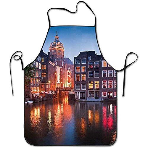 Watergolf Night Time Verlichtingen van De Neo-Renaissance St Nicholas Kerk in Amsterdam Beeld Schort Keuken Koken Schort
