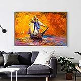wZUN Barco Puesta de Sol Pintura al óleo Arte Mural Lienzo Mural Imagen Mural Sala de Estar 60x90 Sin Marco