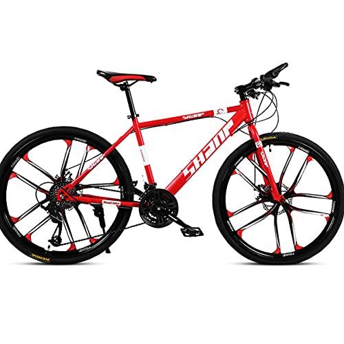 PBTRM Bikes Bicicleta Ciudad 26 Pulgadas 27 Velocidades, Freno Disco Doble con Marco Acero Alto Carbono para Hombres Y Mujeres,Rojo