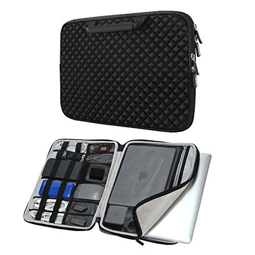 iCozzier 13-13.3 Zoll Laptoptasche mit Handgriff und Diamand-Stil/Tasche für Elektronisches Handtasche für 13 Zoll Ultrabook/Notebook/MacBook –Schwarz