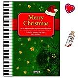 Merry Christmas! 45 beliebtesten und schönsten Weihnachtslieder für Klavier, Keyboard oder Gitarre ! - Songbook mit USB-Stick und bunter herzförmiger Notenklammer - Hage Verlag EH1076U 4026929916846