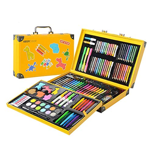 KIDDYCOLOR Deluxe Art Set for Kids 159 Pieces, Portable Painting Art Kit with Animal-Shaped Crayons, Crystal Stickers, Stamp Markers, Watercolor Cakes, Perfect Gifts for Girls & Boys Ages 4-12