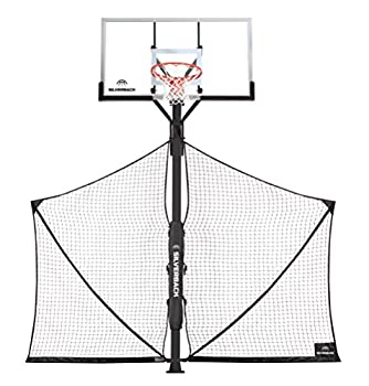 Silverback Basketball Yard Guard Defensive Net System Rebounder with Foldable Net and Arms into Pole  White/Black Large