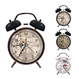 ERYTLLY Classical Twin Bell Alarm Clock for Bedroom with Stereoscopic Dial, Retro Vintage Analog Alarm Clock, Battery Operated Loud Alarm Clock by Retro Style for Home Office-Black