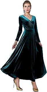 Urban CoCo Women Long Sleeve V-Neck Velvet Stretchy Long Dress