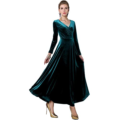 bd1d7985126 Urban CoCo Women Long Sleeve V-Neck Velvet Stretchy Long Dress
