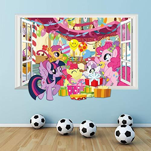 TJJF 3D My Pony Window Wall Decal para decoración de la habitación de los niños Cartoon Wall Sticker Diy Mural Artist Home Decoration