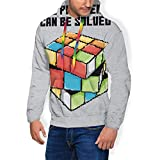 NUASGFB All Problems Can Be Solved Rubiks Cube Pixel Art Sudadera con Capucha y Bolsillos y Terciopelo para Hombre Negro Negro (L