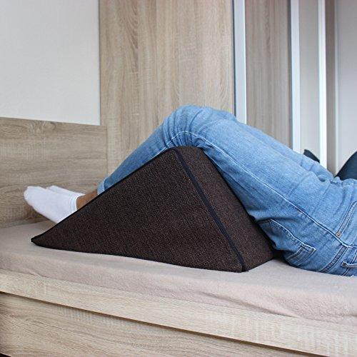 Salosan Keilkissen, Rückenstütze für Bett, Couch, Fernsehen und Tablet Relaxkissen, Lesekissen, Größe 60cm x 50cm Höhe 30cm braun