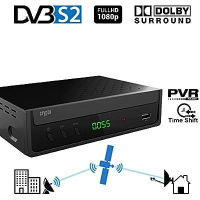 Receptor de satélite Crypto ReDi S100P DVB S2 para transmisores públicos (PVR-Ready, DVBS2, Full HD, HDMI, Dolby Digital, SCART, USB 2.0, LNB IN / out, Coaxial, Mediaplayer, Remote)
