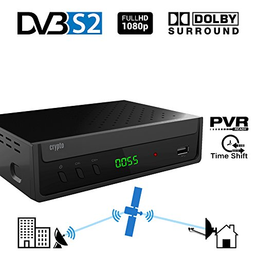 Crypto ReDi S100P ricevitore satellitare DVB S2 per trasmettitori pubblici (PVR ready, DVBS2, Full HD, HDMI, Dolby Digital, SCART, USB 2.0, LNB IN / OUT, coassiale, Mediaplayer, remoto)