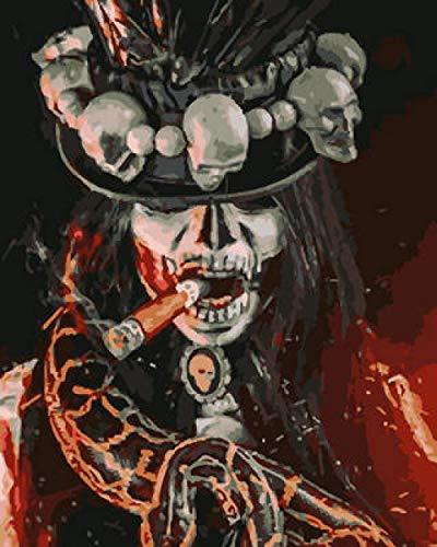 wanjv Pintar por Números para Adultos Hombre Serpiente Esqueleto Kit De Pintura De Colores por Números, Pigmento Acrílico para Bricolaje De 16 * 20 Pulgadas para Niños-Sin Marco