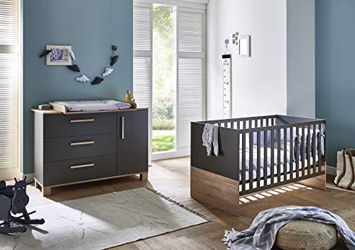 Arthur Berndt Cloe Babyzimmer Sparset 2-tlg in grau/Eiche Sägerau für Jungen und Mädchen
