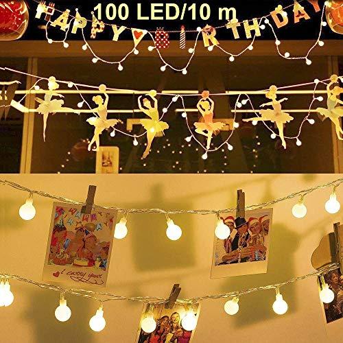 Ventdest Guirnalda Luces, Cadena de Luces, Guirnalda de Luces Impermeable 10m 100 LED 8 Modos Decorativas para Jardines, Casas, Boda, Fiestas, Fiesta de Navidad (Blanco Cálido)