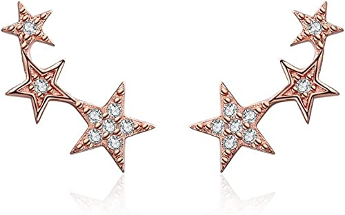 Qings Boucles d'oreilles en argent sterling 925, boucles d'oreilles de style Etoile noire avec zircon cubique Diamant...