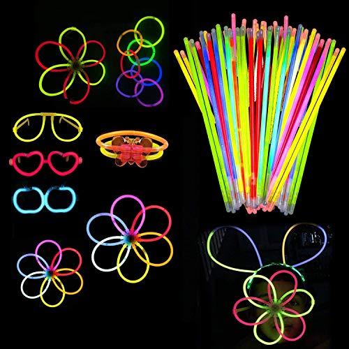 """Weddecor 8"""" Brillo Varillas con Conectores Brilla en la Oscuridad Mega Pack de Fiesta para Hacer Neón Brazaletes, Collares, Brillante Gafas - Multicolor, 224pcs"""