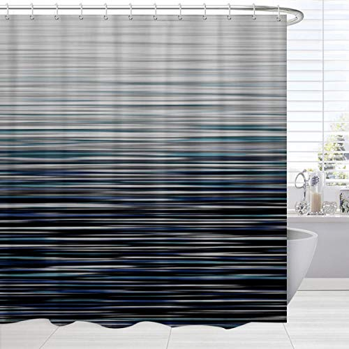 BROSHAN Modern Decor Shower Curtain, Ombre Abstract Striped Pattern Bath Shower Curtain, Blue Black Fabric Waterproof Bathroom Accessories Set with Hooks, 72 x 72 Inch