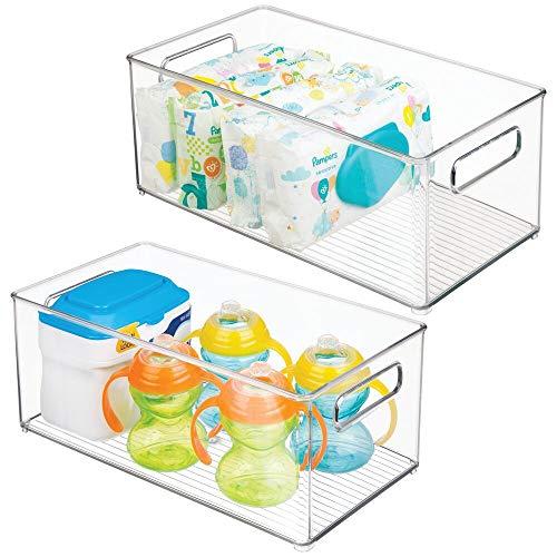 mDesign Organizer per Cameretta (Pacco Doppio) – Contenitore Portaoggetti in Plastica con Manici – Ideale per Giocattoli, Vestiti o Bambole – Colore: trasparente