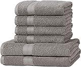 Set di 6 asciugamani: 2 asciugamani da bagno (140 x 70 cm) e 4 asciugamani per le mani (100 x 50 cm). 100% cotone per garantire morbidezza e resistenza. Leggeri e assorbenti. Colori che non sbiadiscono. Lavabili in lavatrice a 60°C e asciugabili in a...