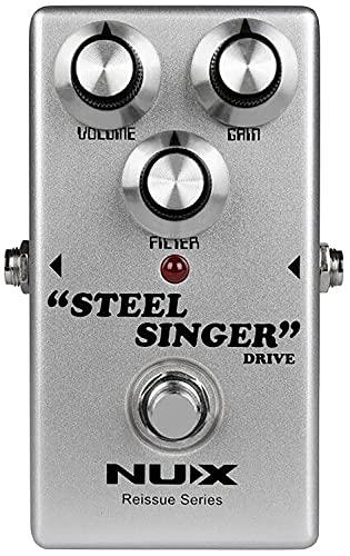 Nux Steel Singer Drive Pedal, elektrische gitaar effectpedaal (effectregeling met regelaars voor volume, gain en filter…
