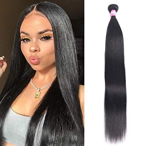 "FQ Peruvian Straight Human Hair 1 Bundles of 28"" Unprocessed Virgin mink 10A Human Hair Bundles Straight Human Hair Extensions Weave Bundles 100g Natural Black Color"