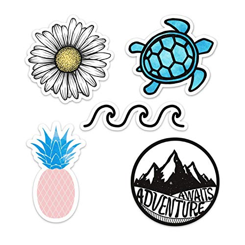 Cute Vinyl Laptop and Water Bottle Decal Sticker Pack, Made in US (Ocean/Beach)