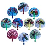 Bestage 30 Pack 3.5' Mini Chinese Oriental Handheld Floral Folding Paper Fans Assortment for Wedding Birthday Party Favors Kids Toys Gifts(Colorful Handle)