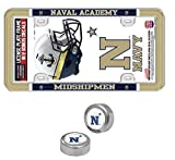 WinCraft US Naval Academy Navy Midshipmen License Plate Frame, 2 Decals, and 2 Screw Cap Covers