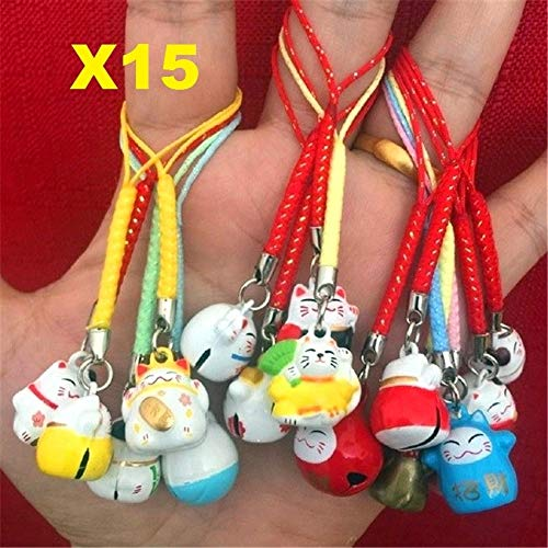 EatingBiting(R)15pcs Random Maneki Neko Fortune Lucky Japanese Beckoning Cat Keyring Keychain Key Rings, Fengshui Fortune Lucky Cat Kitty Key Chains Wealth Health Fortune Rich Money Symbol 15 Pack