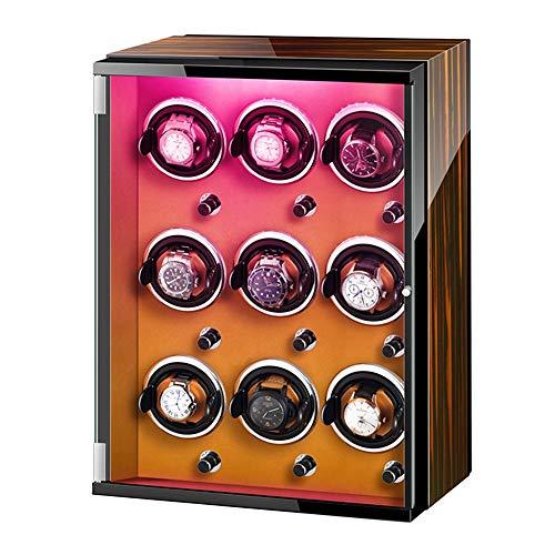 AYYEBO Caja Enrolladora Reloj Automática con Luces Colores Exterior Pintura Piano Almohadas Reloj Ajustables Adaptador CA Y Batería (Color : Brown, Size : 9+0)