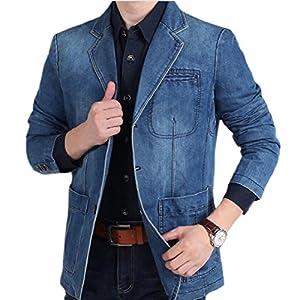 Men's 3 Buttons Slim Fit Denim Blazer Jacket Suit Coat