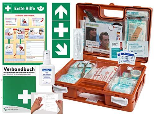 Verbandskoffer/Verbandskasten (K) Typ C -Komplettpaket- Erste Hilfe nach DIN 13157 für Betriebe -DSGVO- INKL. PERFORIERTEM VERBANDBUCH + Hände-Antisept-Spray & AUSHANG + Aufkleber