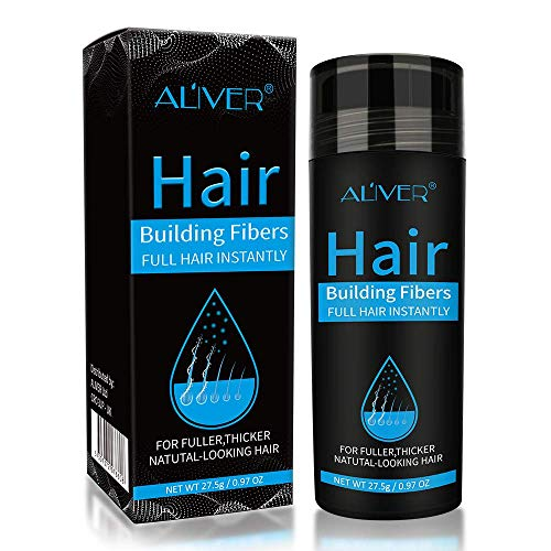 Aliver Hair Fibers for Thinning Hair - Undetectable Natural Formula - Thicker Fuller Hair in 15 Seconds - Conceals Hair Loss & Look Younger - Designed for Men & Women,0.97Oz (Black)