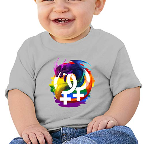 QingH Lesbian Pride Dragon Baby Short Sleeve T-shirt, zwart