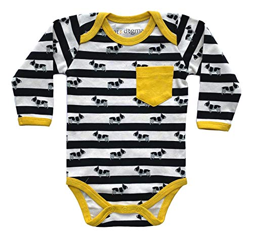 Cat & Dogma Organic Cotton Long Sleeve Unisex Bodysuit - Infant Clothing and Apparel, Baby Clothes for Boys and Girls (Frenchie/ 0-3 Months)