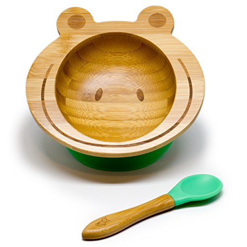 KLEINER FUCHS präsentiert - Hochwertige Baby Schüssel aus naturbelassenem Bambus mit rutschfestem Saugnapf und passendem Babylöffel, auch perfekt als Geschenk-Set (Frosch)