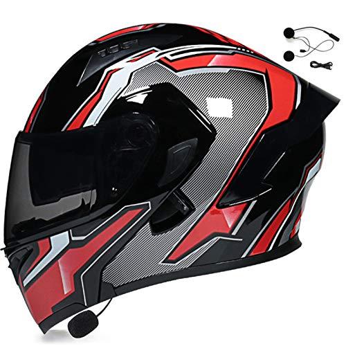 Bluetooth Casco Moto Modular Homologado ECE Doble Visera Casco Moto Abatible Unisex Casco Integral para Motocicleta Bicicleta Scooter Cascos de Moto Modulares para Mujer y Hombre I,XL