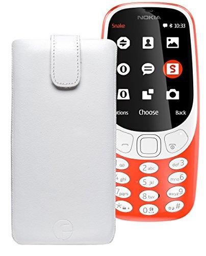 Original Favory Etui Tasche für Nokia 3310 (2017) | Leder Etui Handytasche Ledertasche Schutzhülle Hülle Hülle Lasche mit Rückzugfunktion* in weiss