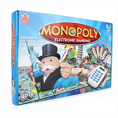 DEF Juego de Mesa Monopoly World Tour Monopoly de banca electrónica, máquina de Tarjeta de crédito electrónica, Juego de transacciones inmobiliarias para niños y Adultos