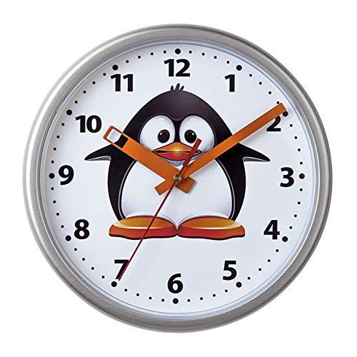 SELVA Kinderwanduhr – Pinguin-Motiv – ABS-Gehäuse – Plastikglas – GERÄUSCHLOS – Für MÄDCHEN und Jungen – Ø 23 cm