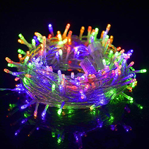 WATERGLIDE 300 LED Christmas Lights, 98.5FT Xmas String Light 8 Lighting Modes, Plug in Waterproof Mini Lights for Outdoor Indoor Holiday Christmas Tree Wedding Party Bedroom Decorations (Multicolor)