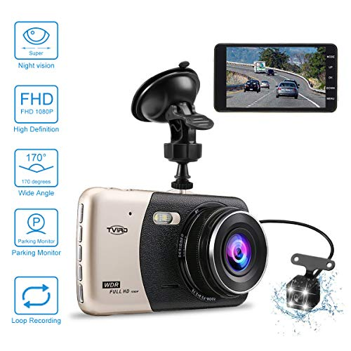 Dash Camera for car,Dash cam,Tvird Full HD 1080P with IPS Screen 4,Front and Rear Dual Channel Dashboard,160 Degree Wide Angle with Supreme Night Vision,G-Sensor,Motion Detection,WDR,Loop Recording