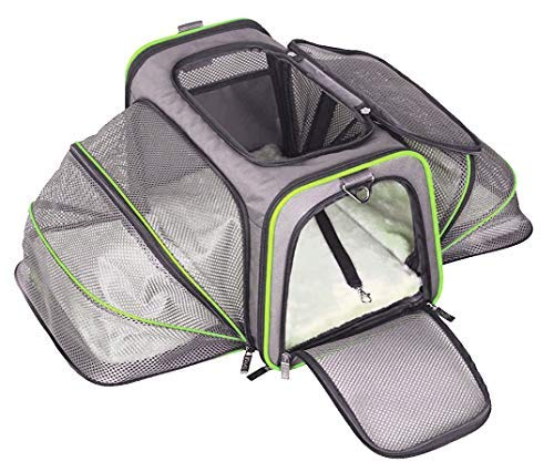 ABISTAB - Trasportino pieghevole per cani e gatti, adatto per viaggi in auto e in aereo, borsa maxi 72 cm, pieghevole su entrambi i lati, con tracolla lunga