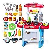 Detazhi Rollenspiel Spielzeug Kleinkind Spielzeug Küche Spielzeug Set mit realistischen Sound Spiel Küche Kinder Pädagogische Spielzeug (Farbe: Blau, Größe: 50x30x63cm)