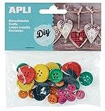 APLI - Bolsa botones madera color y tamaños surtidos 30 uds