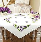 Kamaca Set per ricamo a punto piatto, tovaglietta con motivo: fiori di primavera e farfalle, tracciato per ricamo ad ago a punto raso, punto catenella