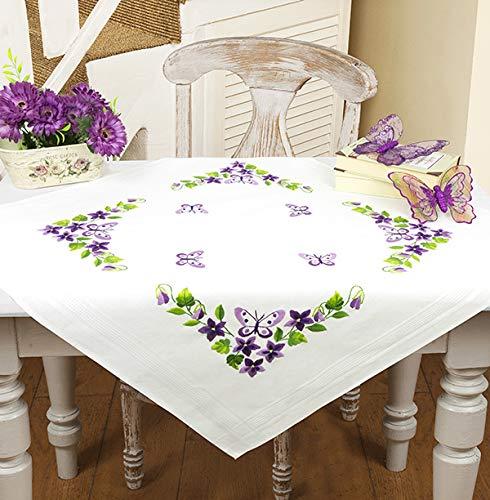Kamaca - Kit de punto, mariposa y flores, punto plano y bordado en sombra para mantel, de algodón, con plantilla de bordado